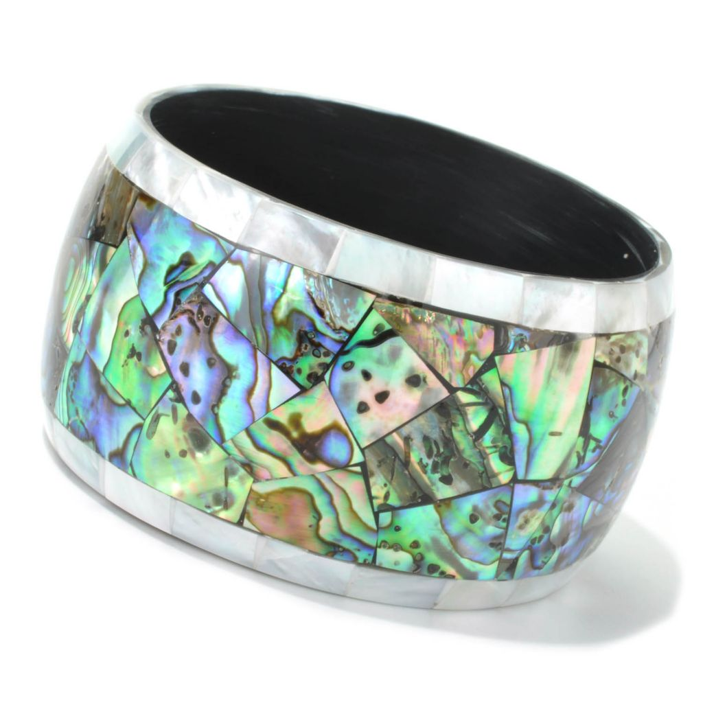 "135-313 - Artisan Silver by Samuel B.  8"" Mother-of-Pearl & Abalone Slip-on Bangle Bracelet"
