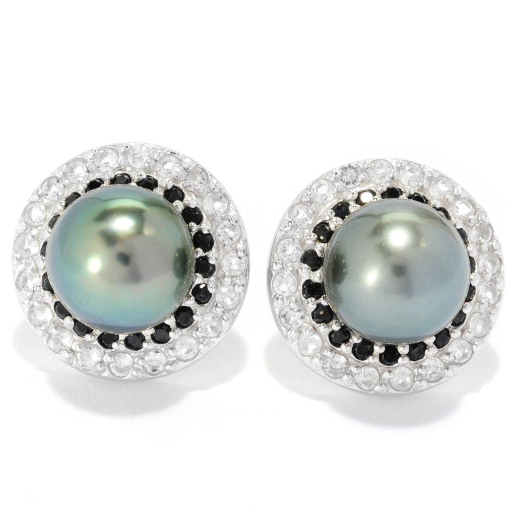 135-322 - Sterling Silver 9-10mm Tahitian Cultured Pearl, Spinel & Topaz Halo Earrings