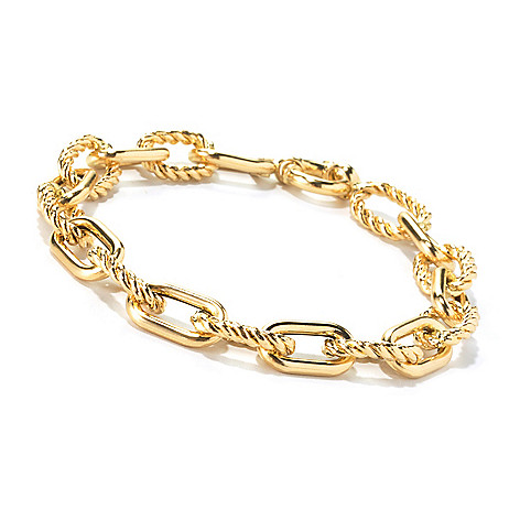 135-328 - Viale18K® Italian Gold 7.75'' Twisted & Polished Link Bracelet, 8.6 grams