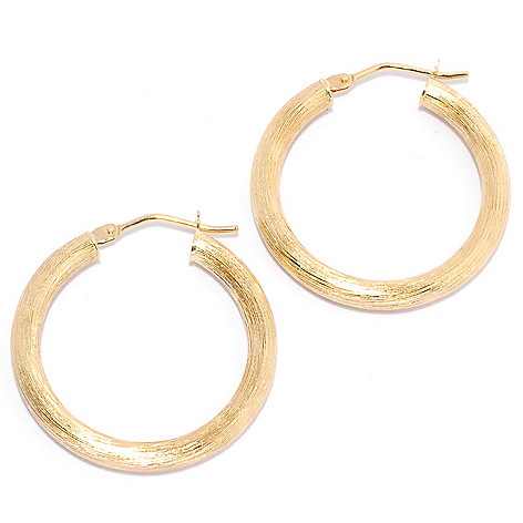 135-329 - Viale18K® Italian Gold 1'' Brushed Hoop Earrings