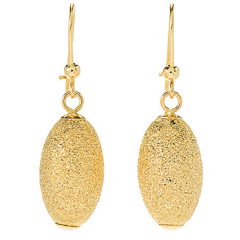 135-331 - Viale18K® Italian Gold 1.25'' Diamond Cut Oval Bead Drop Earrings