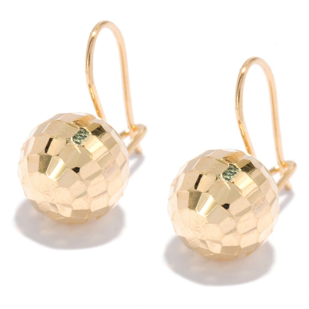 135-332 - Viale18K® Italian Gold Diamond Cut Ball Earrings