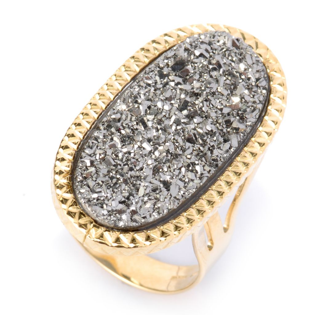 135-338 - Viale18K® Italian Gold 27 x 12mm Oval Drusy Textured Elongated Ring