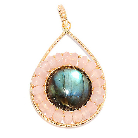 135-347 - Viale18K® Italian Gold 20mm Labradorite & Rose Quartz Textured Pendant