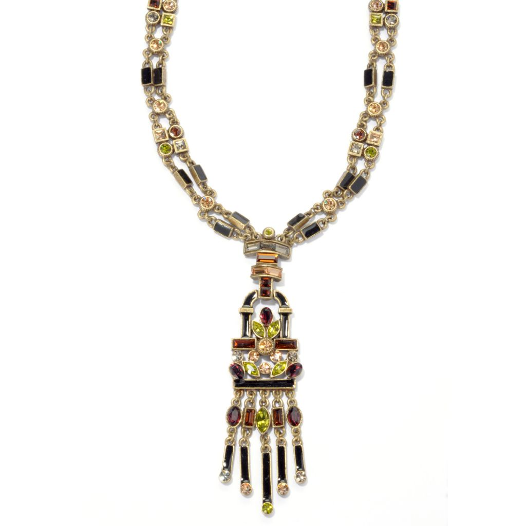 "135-350 - Sweet Romance™ 24.5"" Multi Color Crystal & Enamel Art Deco Inspired Necklace"