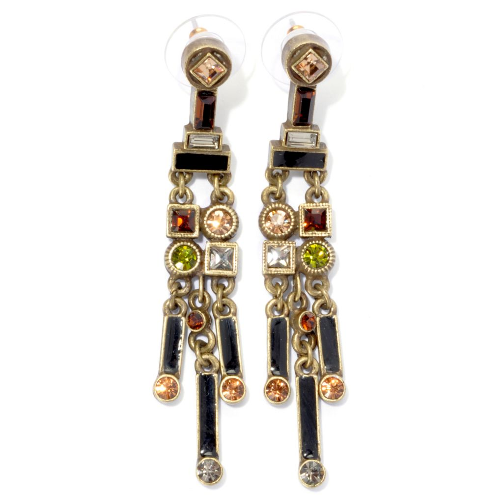 "135-351 - Sweet Romance™ 2.5"" Multi Color Crystal & Enamel Art Deco Inspired Dangle Earrings"