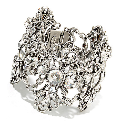 135-360 - Sweet Romance™ 7.5'' Round & Pear Shaped Crystal Jazz Age Inspired Bracelet