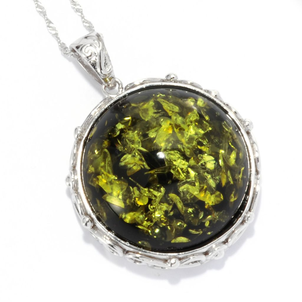 "135-364 - Gem Insider Sterling Silver 26mm Amber Dome Pendant w/ 18"" Chain"