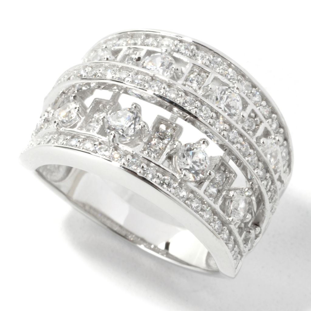 135-365 - Brilliante® Platinum Embraced™ 1.46 DEW Simulated Diamond Multi-Row Tapered Band Ring