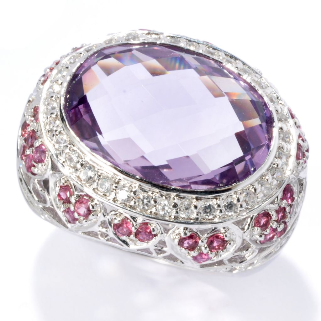 135-371 - NYC II 12.57ctw Amethyst, Pink Tourmaline & White Zircon Heart Cocktail Ring