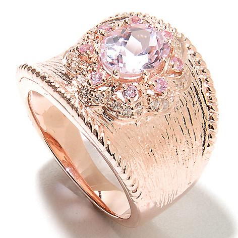 135-372 - NYC II™ 1.93ctw Kunzite, Pink Sapphire & White Zircon Textured Band Ring