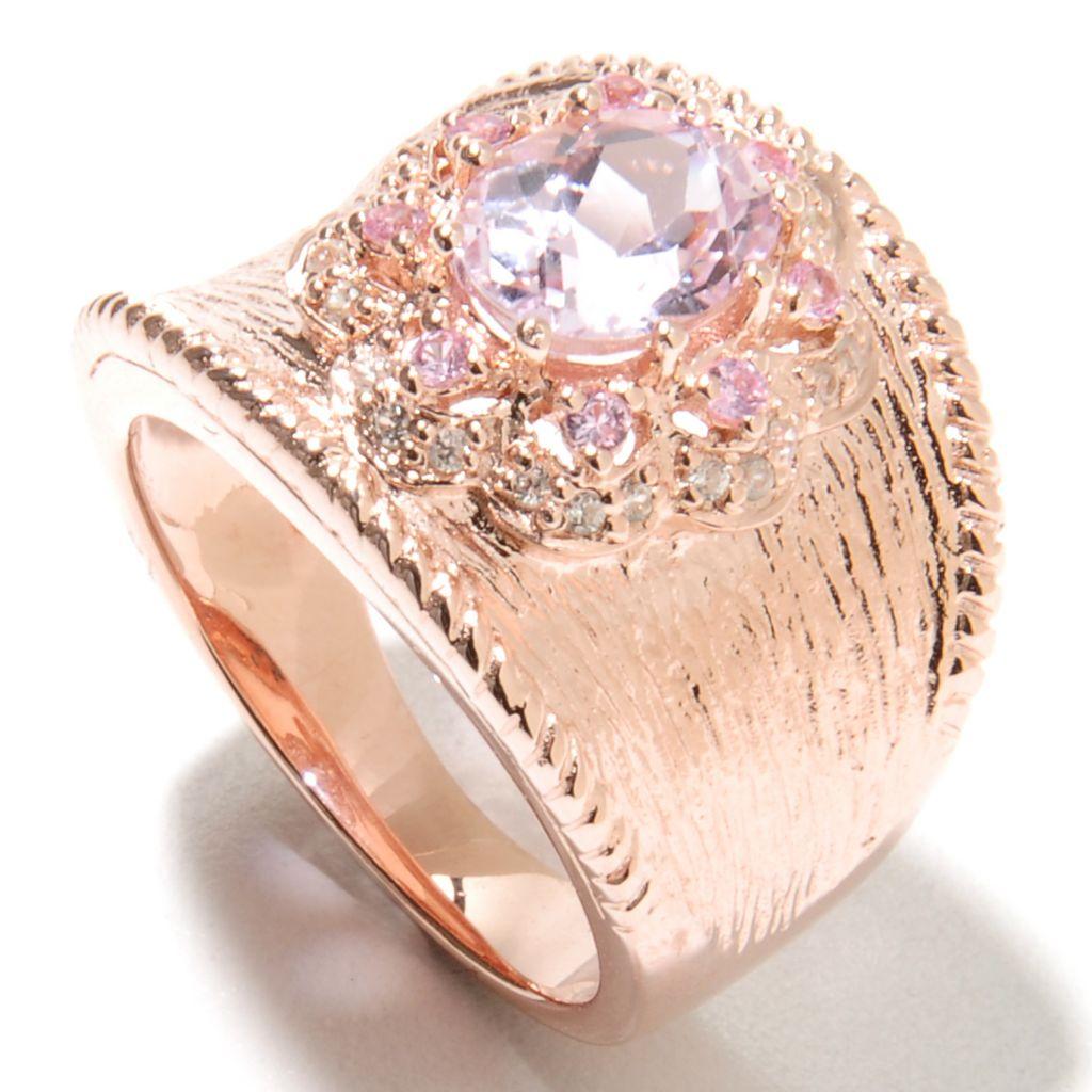 135-372 - NYC II 1.93ctw Kunzite, Pink Sapphire & White Zircon Textured Band Ring