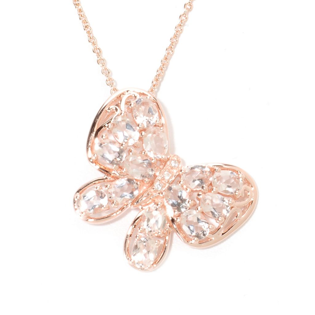"135-373 - NYC II 2.35ctw Morganite & White Zircon Butterfly Pendant w/ 18"" Chain"