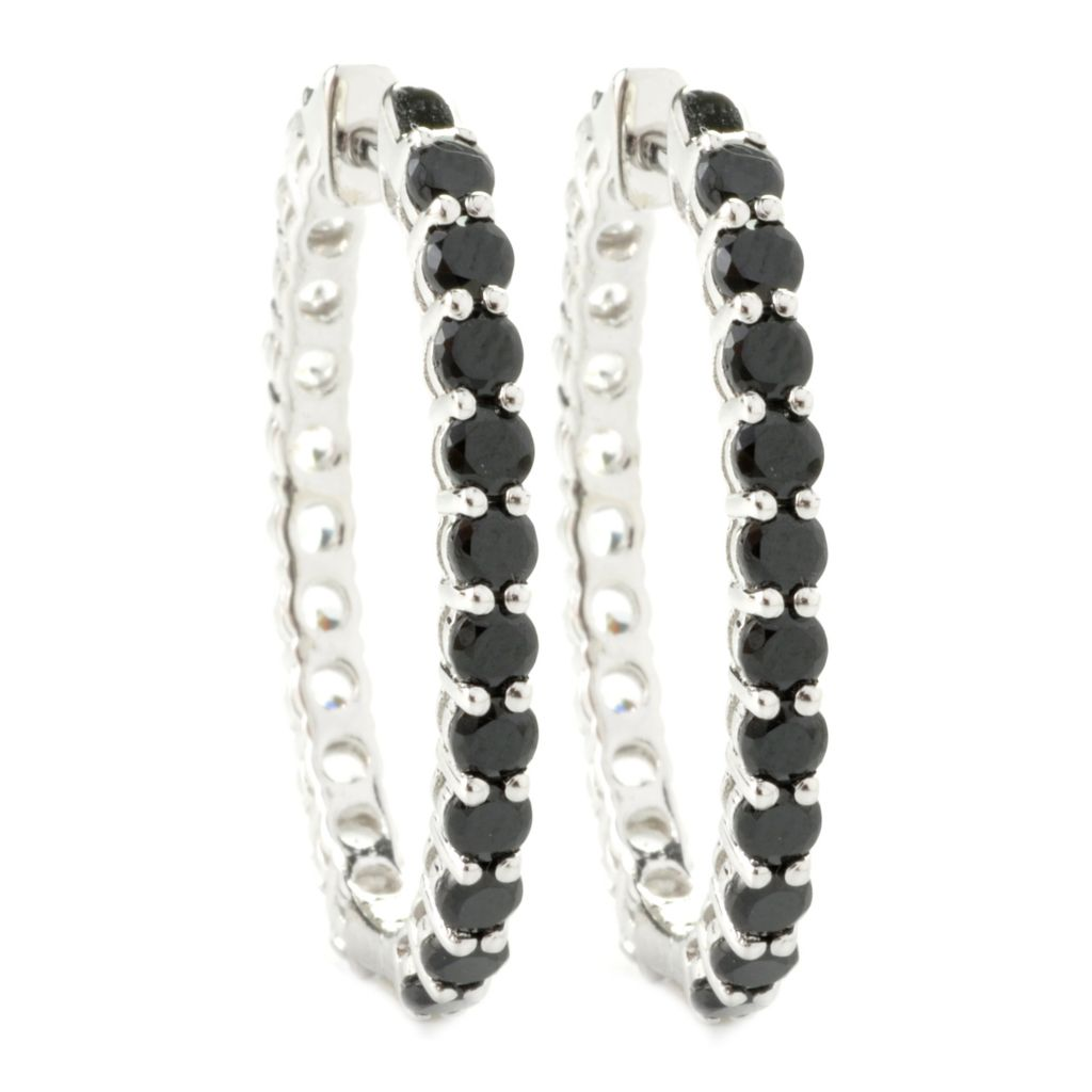 "135-374 - NYC II 1.25"" 6.50ctw Spinel & White Zircon Double-Sided Hoop Earrings"