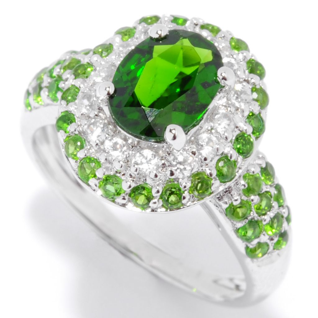 135-376 - NYC II 2.18ctw Chrome Diopside & White Zircon Double Halo Ring