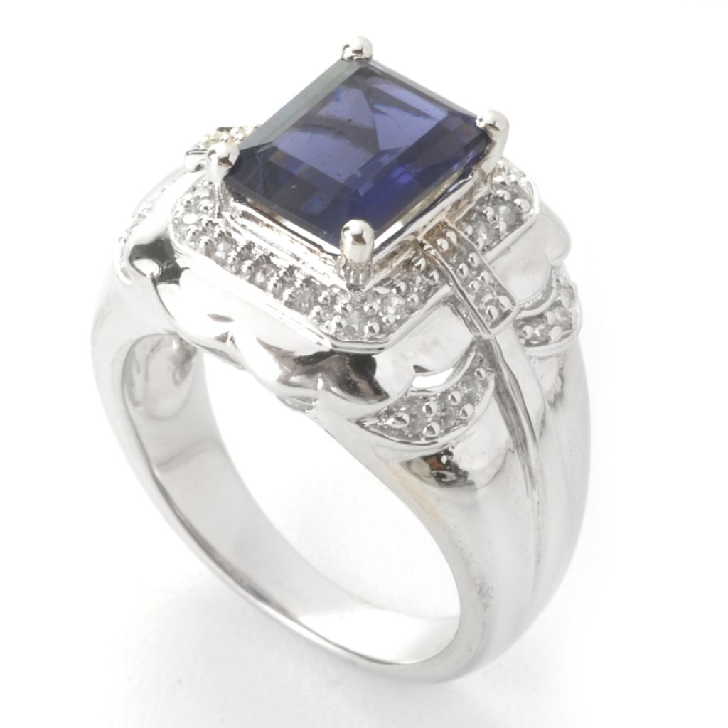 135-377 - NYC II 2.24ctw Emerald Cut Iolite & White Zircon Halo Ring