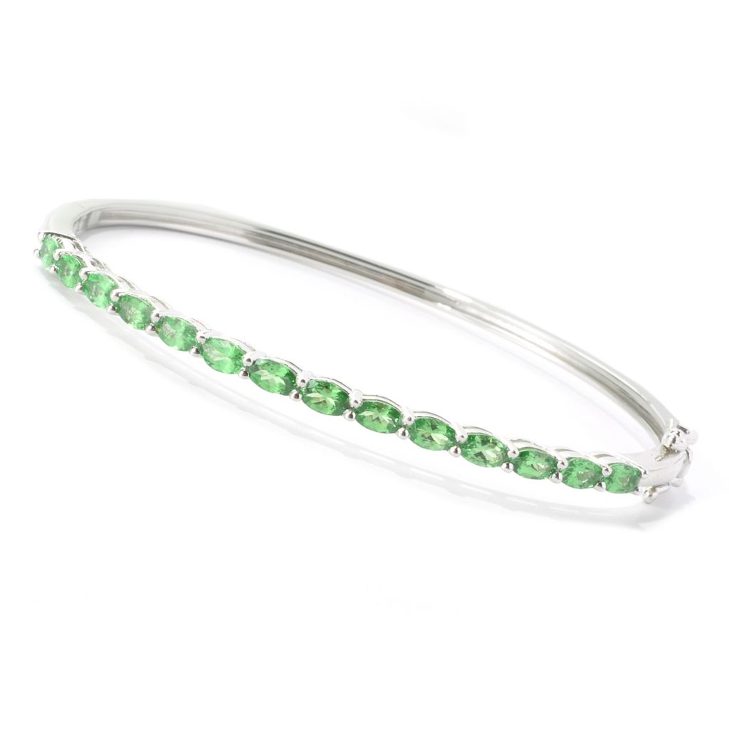 135-378 - NYC II 3.25ctw Oval Tsavorite Hinged Bangle Bracelet