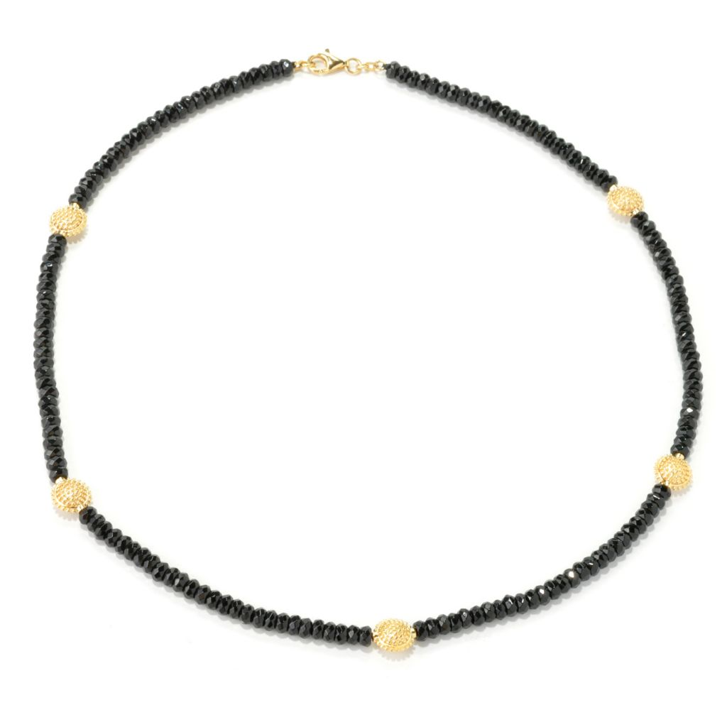 "135-384 - Jaipur Bazaar 18K Gold Embraced™ 20"" Black Agate Bead & Textured Station Necklace"