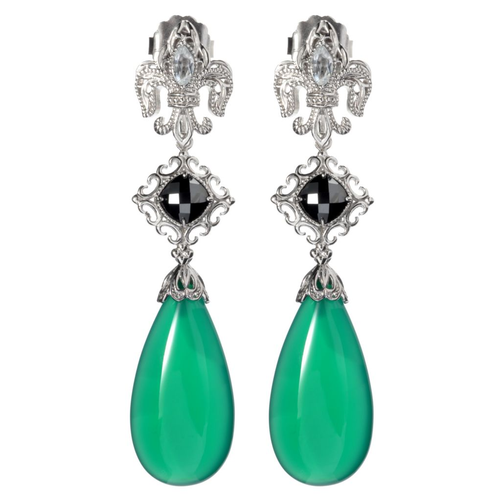 "135-385 - Dallas Prince Designs Sterling Silver 2.5"" Gemstone Interchangeable Drop Earrings"