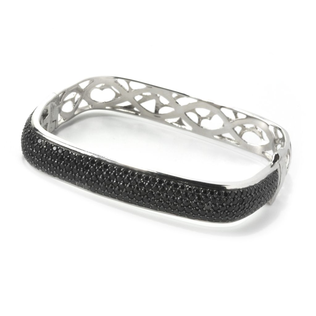 135-387 - Sonia Bitton Platinum Embraced™ Simulated Diamond Square Hinged Bangle Bracelet
