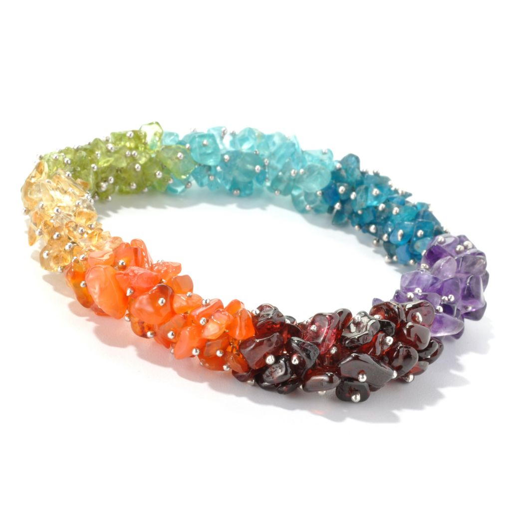 135-388 - NYC II Multi Gemstone Exotic Rainbow Chip Bead Stretch Bracelet