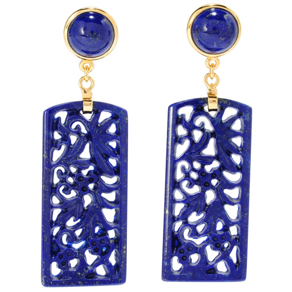 "135-389 - 40 x 18mm Carved Lapis Flower 2.25"" Dangle Earrings"