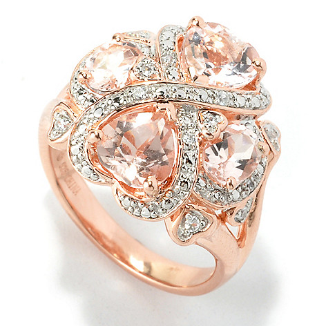 135-392 - NYC II 2.20ctw Morganite & White Zircon Interlocking Heart Ring