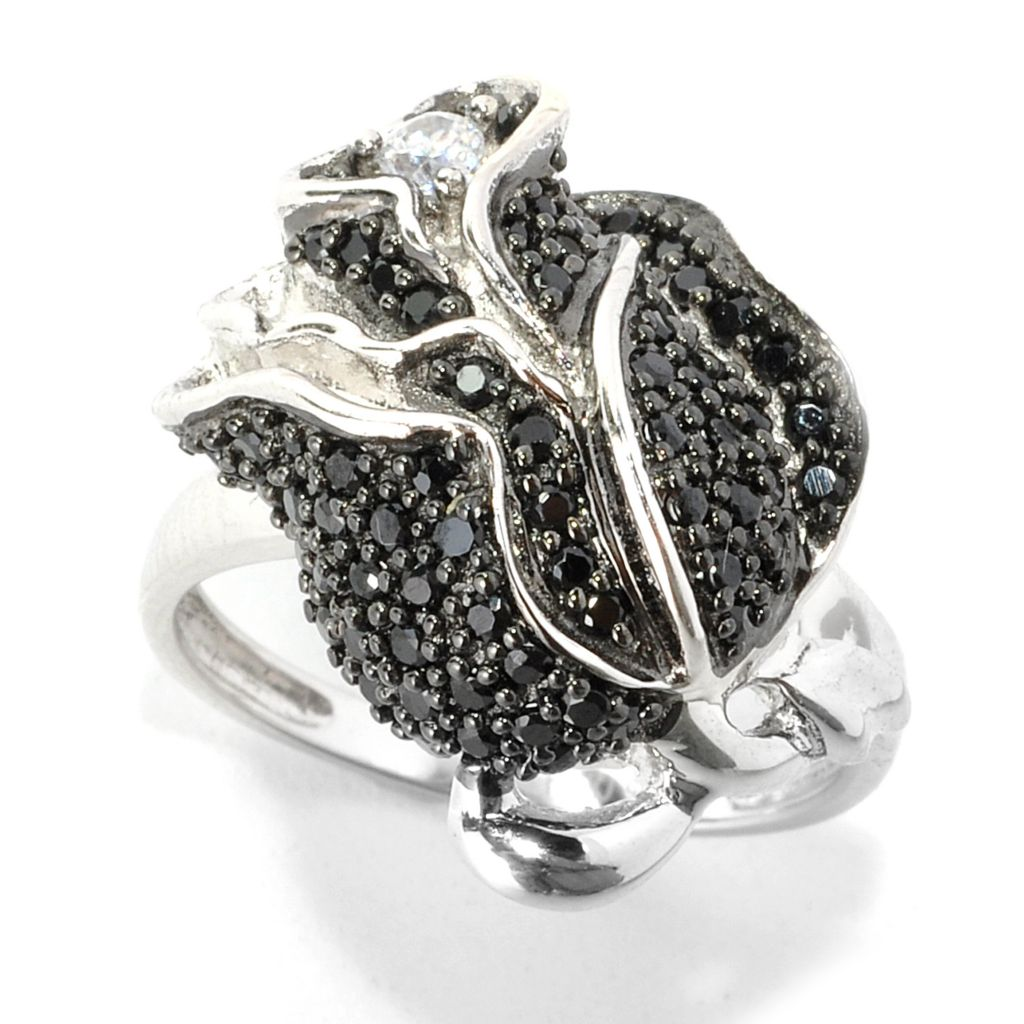 135-393 - NYC II Black Spinel & White Zircon Rose Ring