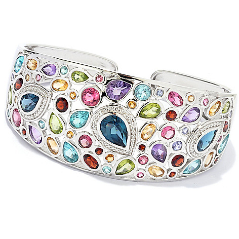 135-400 - NYC II 6.5'' 13.78ctw Multi Gemstone Hinged Cuff Bracelet