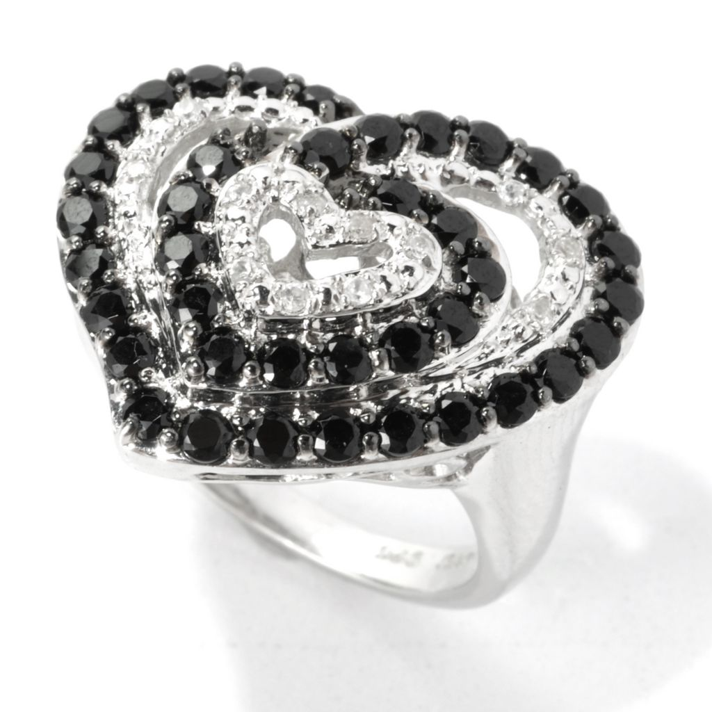 135-402 - NYC II 1.61ctw Black Spinel & White Zircon Multi Heart Ring