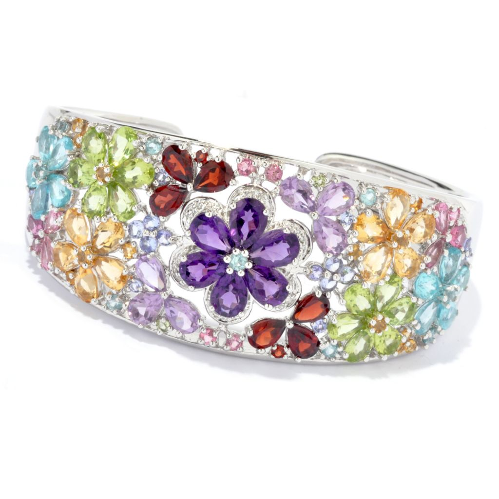 "135-404 - NYC II 7"" 20.87ctw Multi Gemstone Flower Hinged Cuff Bracelet"