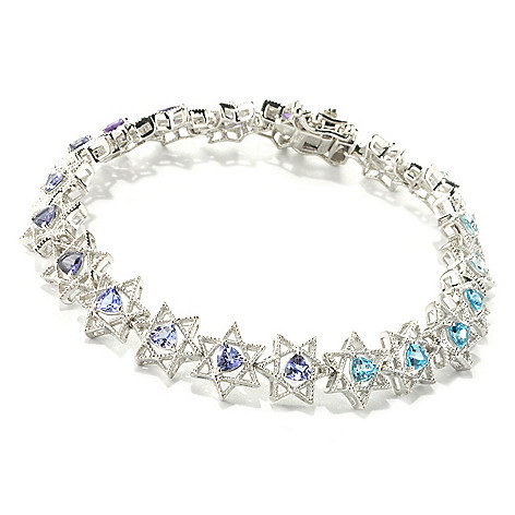 135-405 - NYC II Trillion Multi Gemstone Star of David Tennis Bracelet