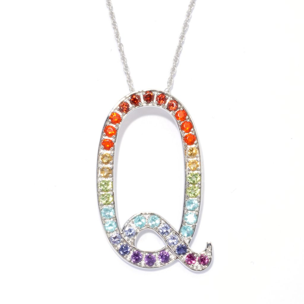 "135-408 - NYC II Multi Gemstone Exotic Rainbow Initial Pendant w/ 18"" Chain"