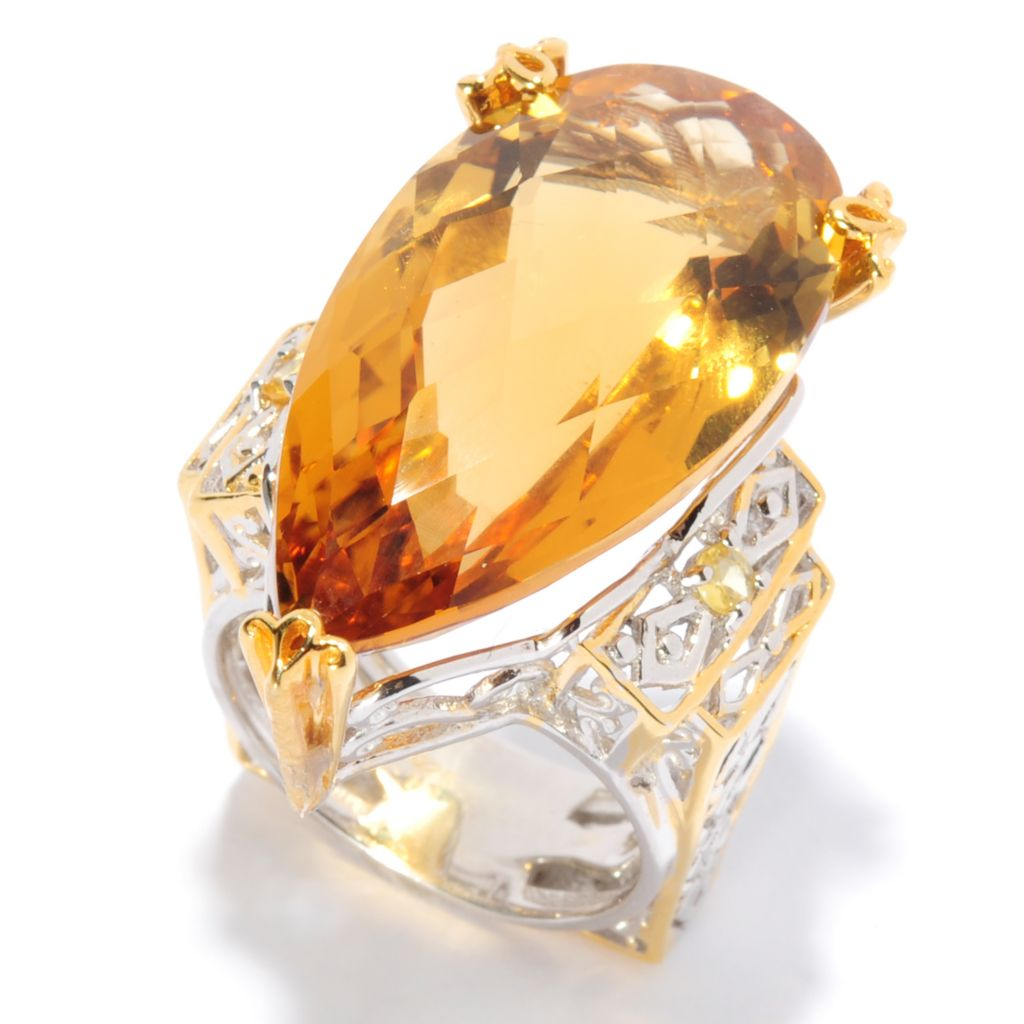 135-409 - Gems en Vogue 22.66ctw Pear Shaped Zambian Citrine & Yellow Sapphire Ring