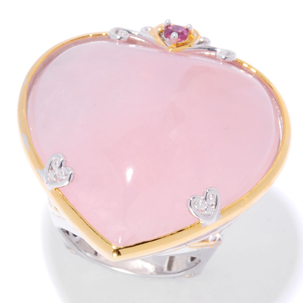 135-410 - Gems en Vogue II 30mm Heart Shaped Rose Quartz & Pink Tourmaline Ring
