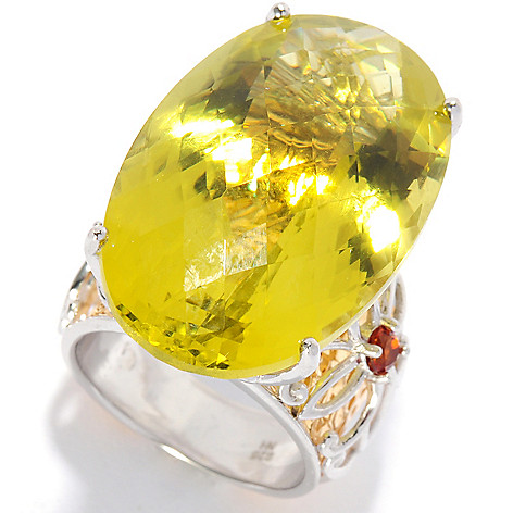 135-411 - Gems en Vogue II 34.5ctw Oval Ouro Verde & Madeira Citrine Hammered Ring