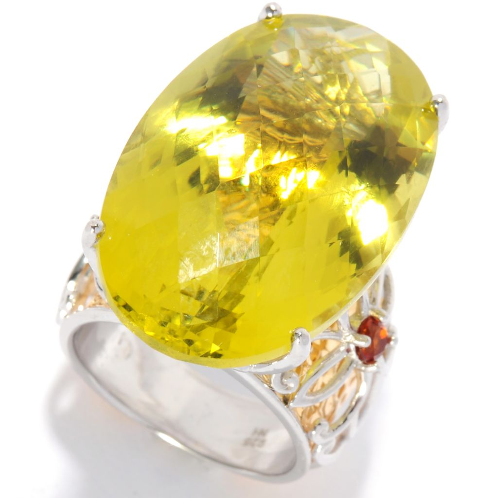 135-411 - Gems en Vogue 34.5ctw Oval Ouro Verde & Madeira Citrine Hammered Ring