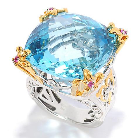 135-412 - Gems en Vogue 34.31ctw Sky Blue Topaz & Pink Sapphire Ring