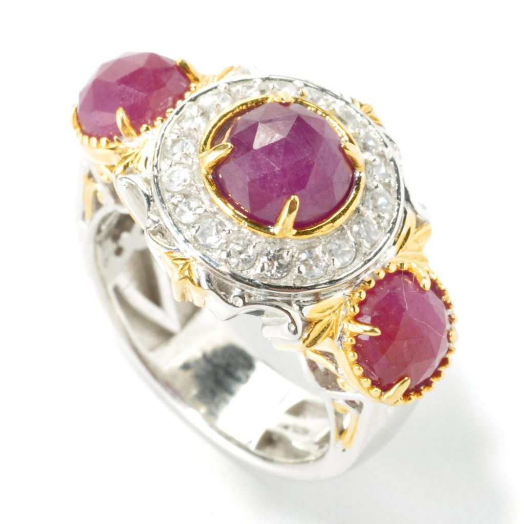 135-421 - Gems en Vogue II 4.45ctw Round Ruby & White Zircon Halo Ring