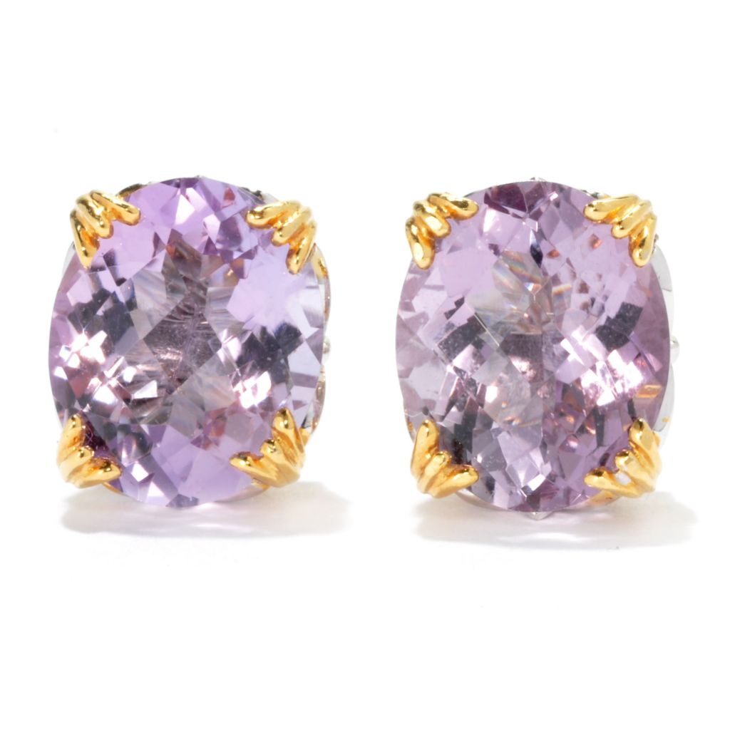 135-423 - Gems en Vogue II 7.64ctw Checkerboard Cut Pink Amethyst Stud Earrings