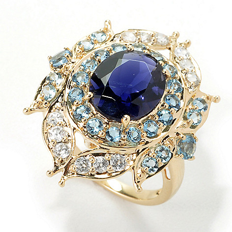 135-426 - Gem Treasures® 14K Gold 3.49ctw Iolite & Multi Gemstone Halo Leaf Ring