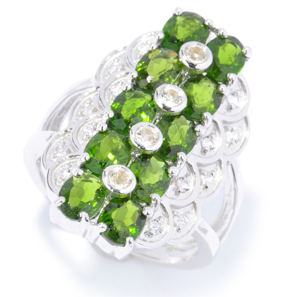 135-427 - Gem Treasures Sterling Silver White Topaz & Fancy Color Gem Scalloped Ring
