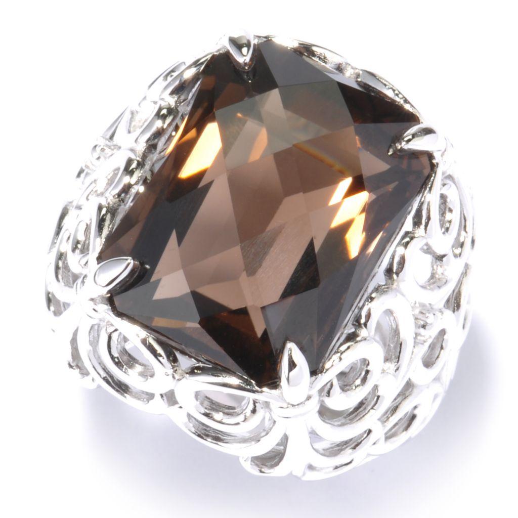 135-428 - Gem Insider Sterling Silver 10.80ctw Octagon Quartz Scrollwork Ring