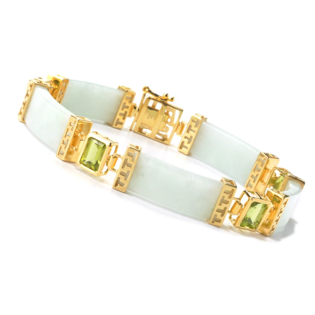 "135-430 - 7.5"" Green Jade & Peridot Fancy Link Bracelet"