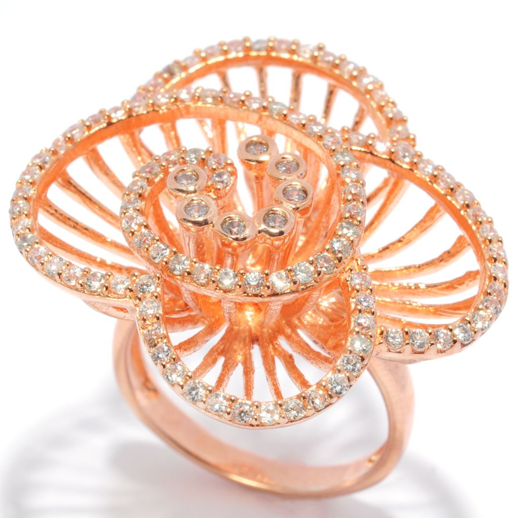 135-440 - Sonia Bitton 1.10 DEW Simulated Diamond Open Work Flower Ring
