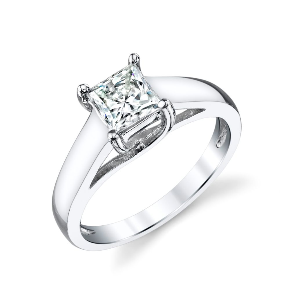 135-446 - 14K White Gold 1.00ct DEW Moissanite Square Brilliant Cut Solitaire Ring