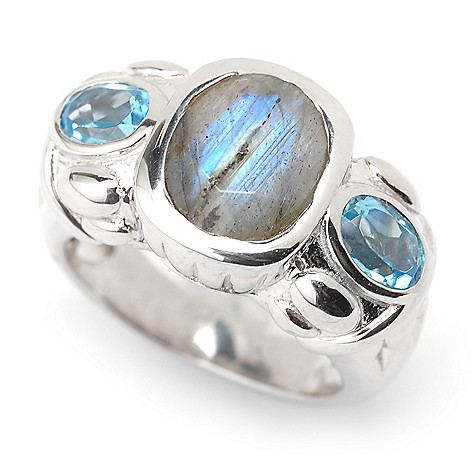 135-455 - Gem Insider Sterling Silver 10 x 8mm Labradorite & Topaz Ring
