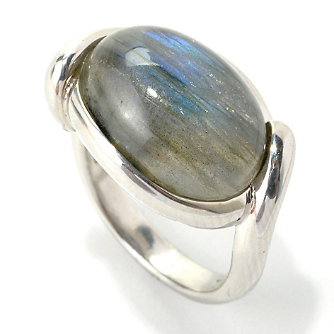 135-456 - Gem Insider® Sterling Silver 16 x 12mm Oval Labradorite Twist Ring