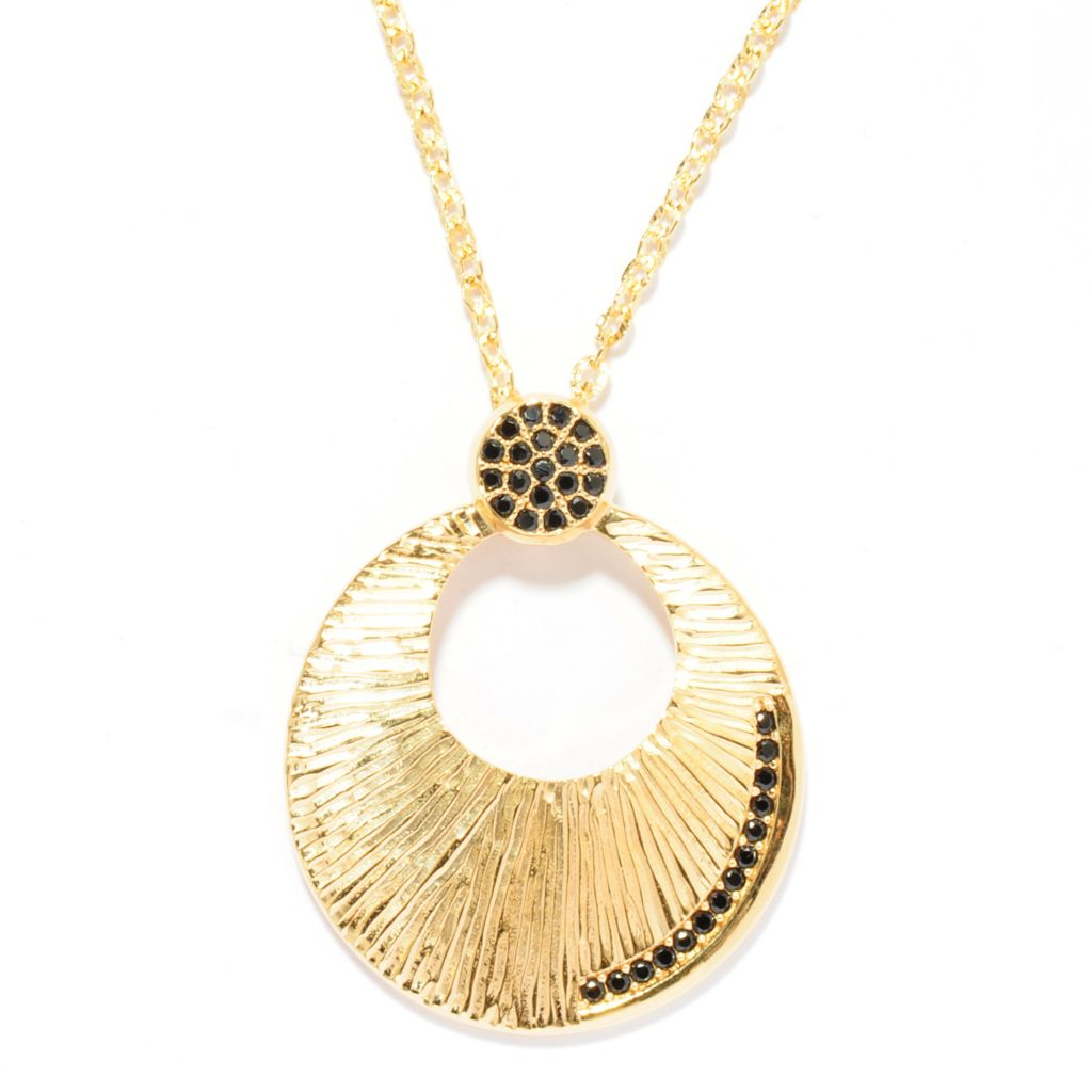135-457 - Toscana Italiana 18K Gold Embraced™ Black Spinel Brushed Cut-out Disk Pendant w/ Chain