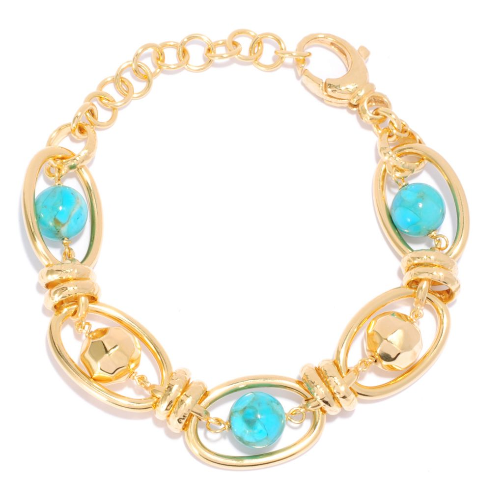 "135-458 - Toscana Italiana 18K Gold Embraced™ 7"" 10mm Turquoise & Hammered Bead Oval Link Bracelet"